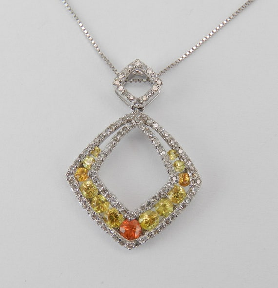 Diamond and Yellow Orange Sapphire Necklace Pendant 14K White Gold Chain 18""