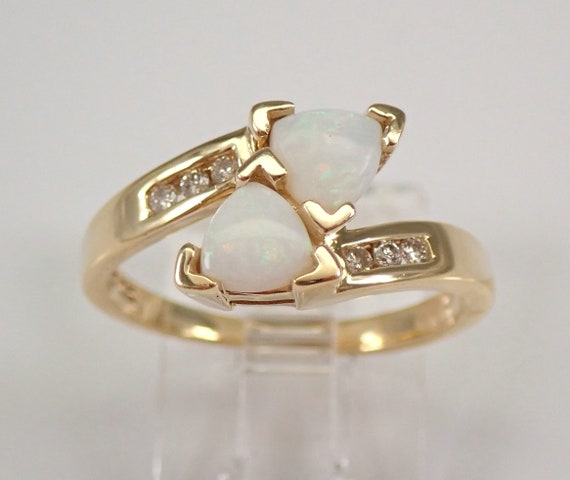 Estate Vintage Yellow Gold Diamond and Opal Bypass Ring Size 6 October Gemstone