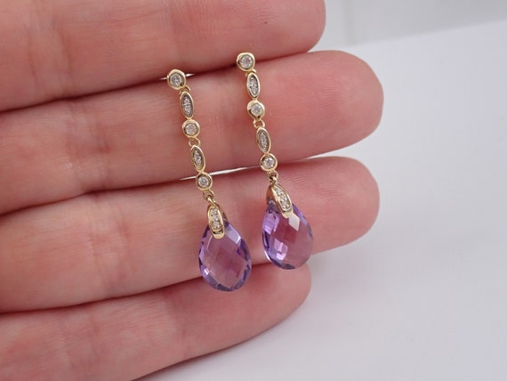 Yellow Gold Diamond and Amethyst Briolette Dangle Drop Earrings February Gemstone