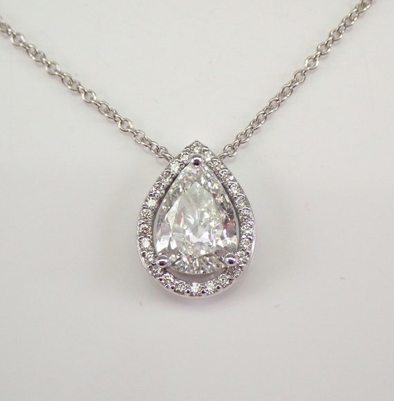 "14K White Gold 1.27 ct Diamond Halo Solitaire Pendant Necklace 18"" Chain D color"