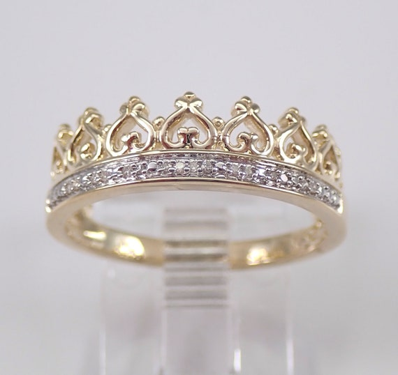 Yellow Gold Diamond Crown Ring Promise Wedding Band King Queen Royal Gift Size 7