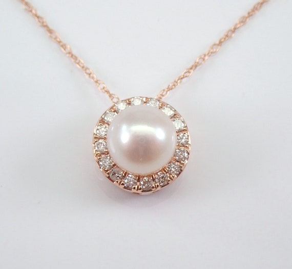 "Rose Gold Diamond and Pearl Halo Pendant Necklace with Chain 18"" June Gemstone"