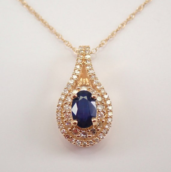 """Sapphire and Diamond Necklace Double Halo Pendant Yellow Gold 18"""" Chain September Birthstone"""