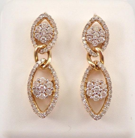 Yellow Gold 1.00 ct Diamond Dangle Drop Cluster Earrings Wedding Gift