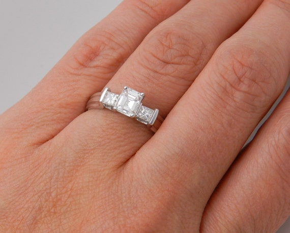 Three-Stone 1.15 ct Emerald Cut Diamond Engagement Ring F-VVS 14K White Gold Size 8