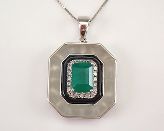 """18K White Gold Emerald Onyx Frosted Quartz Diamond Halo Pendant Necklace 18"""" Chain ONE of a KIND"""