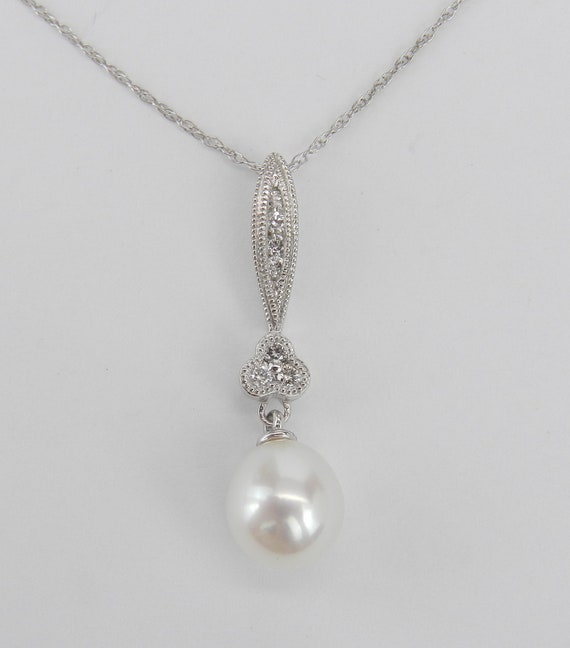 "White Gold Diamond and Pearl Pendant Necklace with Chain 18"" June Birthday"