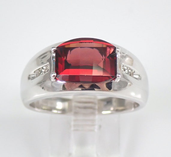Mens Garnet and Diamond Pinky Ring Anniversary Engagement White Gold Size 9.25