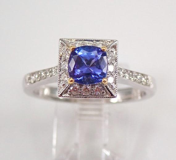 18K White Gold Diamond and Cushion Cut Tanzanite Halo Engagement Ring Size 9