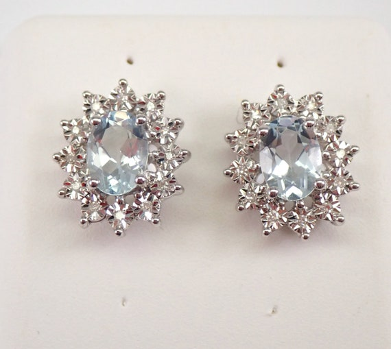 14K White Gold 2.20 ct Aquamarine and Diamond Halo Stud Earrings March Gemstone