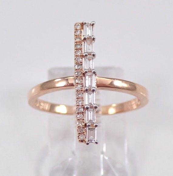 Rose Gold Diamond Ring Bar Style Ring Size 7.25 Minimalist Modern Jewelry Design FREE Sizing
