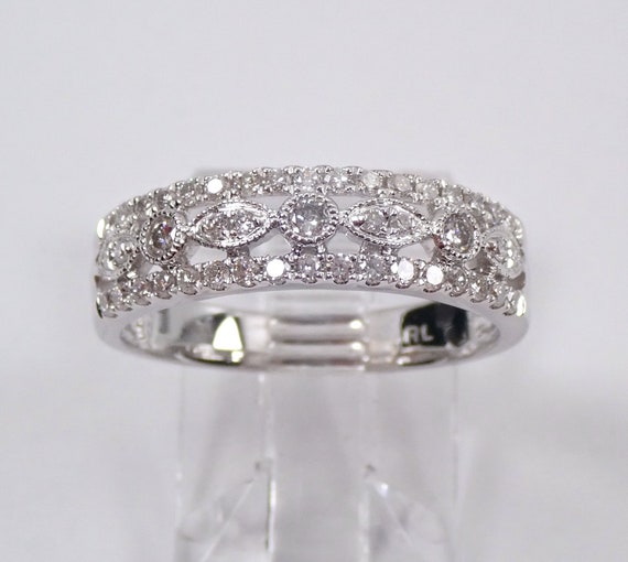 14K White Gold 1/2 ct Diamond Wedding Ring Anniversary Band Stackable Size 7