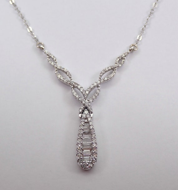 "Diamond Cluster Drop Necklace 14K White Gold Chain 17"" Wedding Pendant Gift"