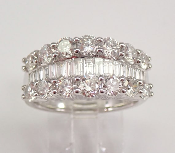 PLATINUM Round and Baguette 2.73 ct Diamond Wedding Ring Anniversary Band Size 7.25 FREE Sizing