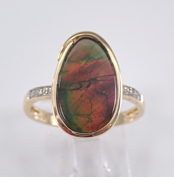 Yellow Gold Diamond and Ammolite Cocktail Ring Size 7 Red and Green Iridescent Color FREE Sizing