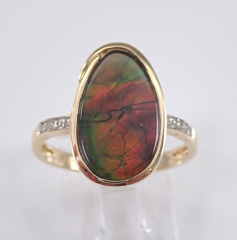Yellow Gold Diamond and Ammolite Cocktail Ring Size 7 Red and image 0