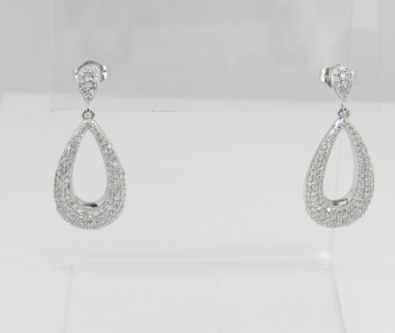 Diamond Earrings White Gold Chandelier Dangle Drop Wedding Pave Set Earrings Great Gift