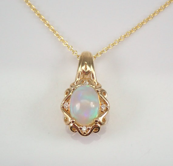 "14K Yellow Gold Diamond and Opal Halo Pendant Necklace 18"" Chain October Birthstone"