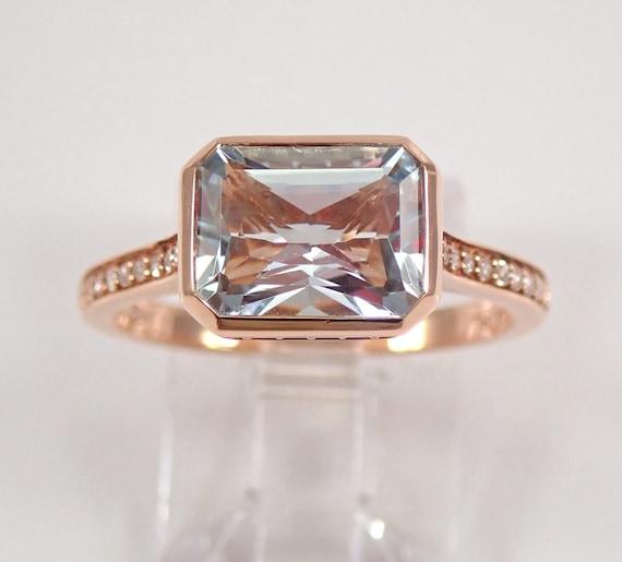 14K Rose Gold Diamond and Emerald Cut Aquamarine Engagement Aqua Ring Size 7 March Gem FREE Sizing