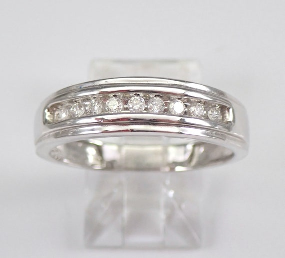 Mens White Gold Diamond Wedding Band Anniversary Ring Size 10.25 Unisex Free Sizing
