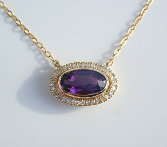 "Diamond and Amethyst Halo Pendant Solitaire Necklace 16.5"" Yellow Gold Chain February Birthstone"