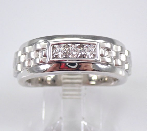 Men's 14K White Gold Diamond Wedding Ring Three Stone Anniversary Band Size 10 FREE SIZING