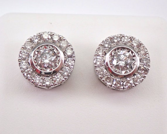 14K White Gold 1.00 ct Diamond Studs Round Halo Stud Earrings 10 mm Diameter