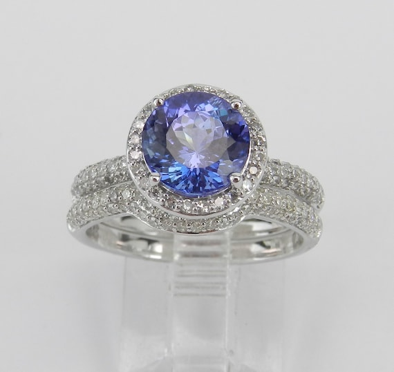 Tanzanite and Diamond Halo Engagement Ring Wedding Band Set 14K White Gold Size 7 FREE Sizing