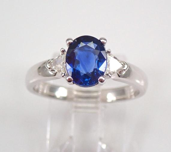 18K White Gold Sapphire and Diamond Three Stone Engagement Ring Size 7 FREE Sizing