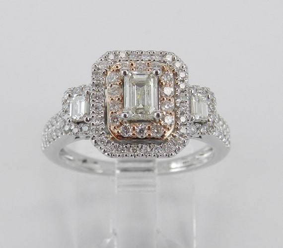 14K White and Rose Gold Emerald Cut Diamond Three Stone Engagement Ring Past Present Future
