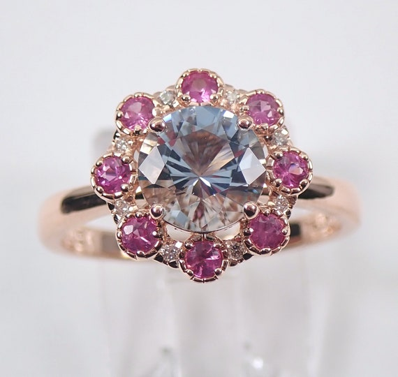 Diamond Aquamarine Pink Tourmaline Halo Flower Engagement Ring 14K Rose Gold Size 7