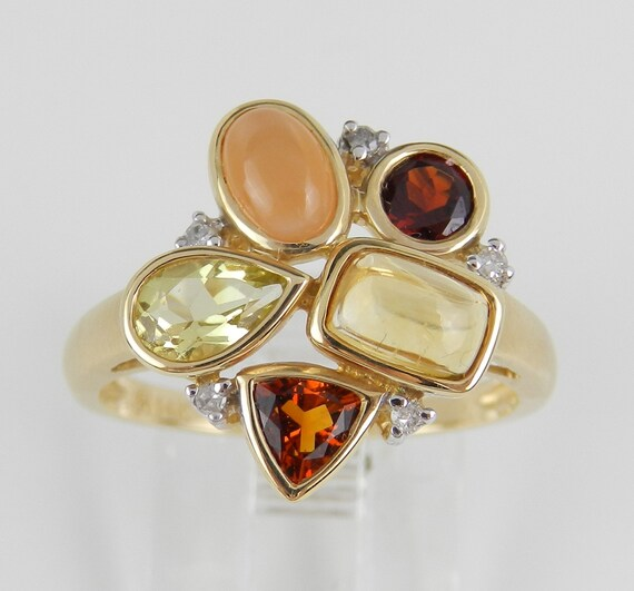 Garnet ring, Citrine ring, Moonstone ring, Diamond Cluster Gemstone Ring 14K Yellow Gold Size 6.75