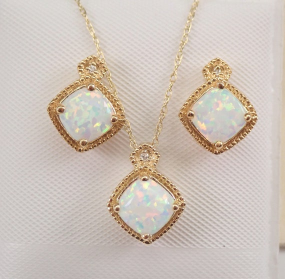 """Yellow Gold Diamond and Opal Pendant Necklace Earrings Set 18"""" Chain October Birthstone"""