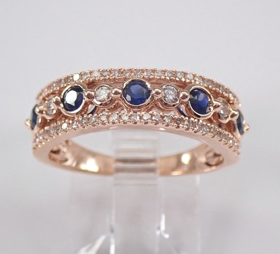 14K Rose Gold Sapphire and Diamond Wedding Ring Anniversary Band Size 6.75 September Birthstone