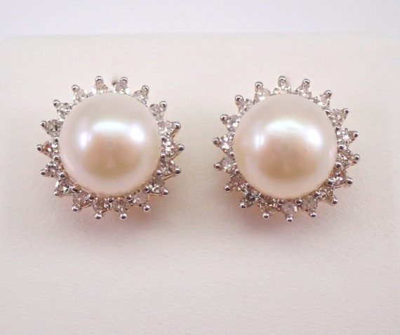 Pearl and Diamond Halo Stud Earrings 14K Yellow Gold June Birthstone Wedding Studs