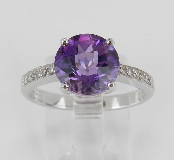 Amethyst Engagement Ring, Diamond and Amethyst Ring, Amethyst Promise Ring, White Gold Diamond Ring, February Gemstone Ring
