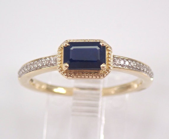 Yellow Gold Diamond and Sapphire Engagement Ring Size 7 Emerald Cut September Birthstone FREE Sizing