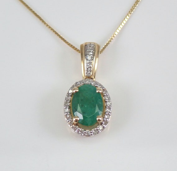 """Yellow Gold Emerald and Diamond Halo Pendant Necklace 18"""" Chain May Gemstone"""