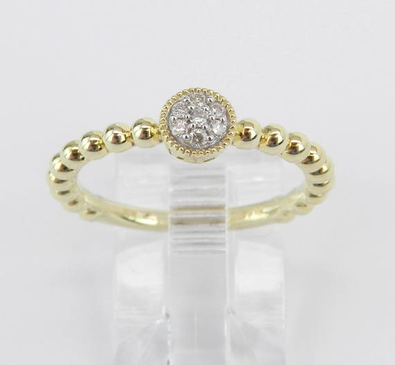 Diamond Cluster Ring, Diamond Midi Ring, Promise Engagement Ring Yellow Gold Size 7 Graduation Gift