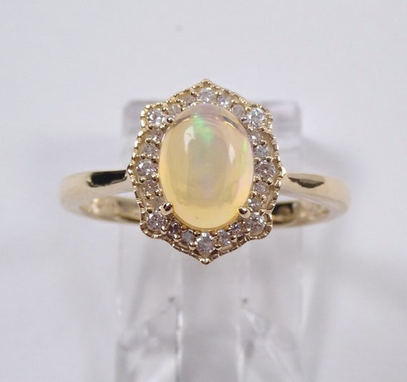Diamond and Opal Ring, Diamond Halo Engagement Ring, Yellow Gold Opal Promise Ring, Size 7, October Mothers Ring Gemstone