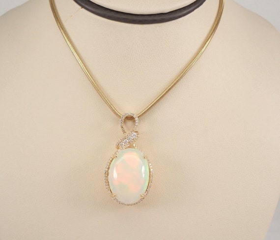 "14K Yellow Gold 12.59 ct Diamond and Opal Halo Pendant Necklace 18"" Snake Chain"