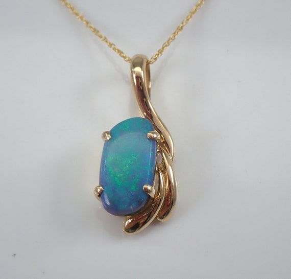 """14K Yellow Gold Vintage Estate Opal Solitaire Pendant Necklace 18"""" Chain October Birthday"""
