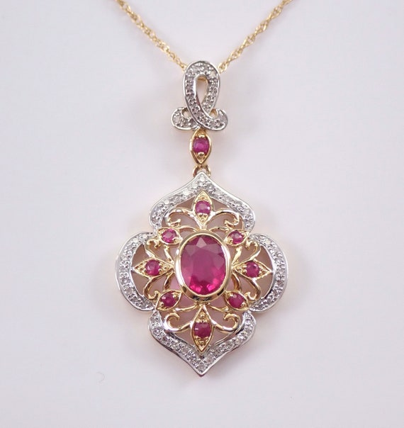 "14K Yellow Gold 1.55 ct Diamond and Ruby Necklace Pendant 18"" Chain July Gemstone"