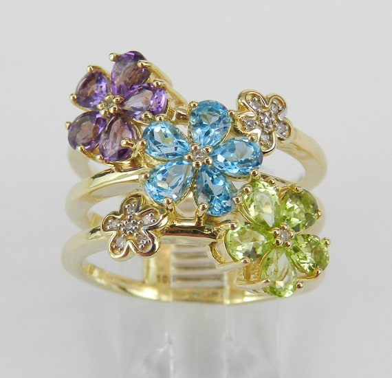 Flower Ring, Multi Color Gemstone and Diamond Ring, Yellow Gold Cluster Ring, Size 7 Blue Topaz Peridot Amethyst FREE Sizing