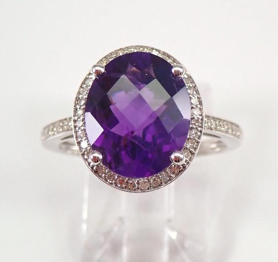 14K White Gold 3.75 ct Diamond and Amethyst Halo Engagement Ring Size 7 Purple February Gemstone FREE Sizing
