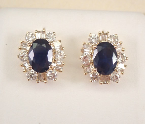 14K Yellow Gold Sapphire and Diamond Halo Stud Earrings Studs September Gemstone