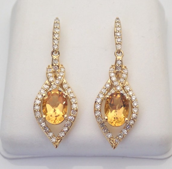 2.15 ct Yellow Sapphire and Diamond Dangle Drop Earrings 14K Yellow Gold September Birthstone
