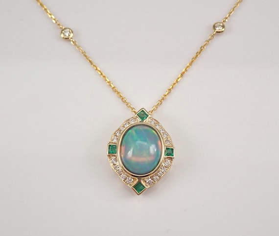"14K Yellow Gold 2.76 ct Diamond Emerald and Opal Halo Pendant Necklace 18"" Chain October Birthstone"