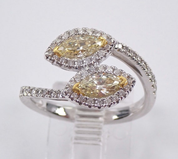 Marquise Canary Halo Diamond Bypass Ring 18K White Gold Size 6.5 Two Stone Ring FREE Sizing