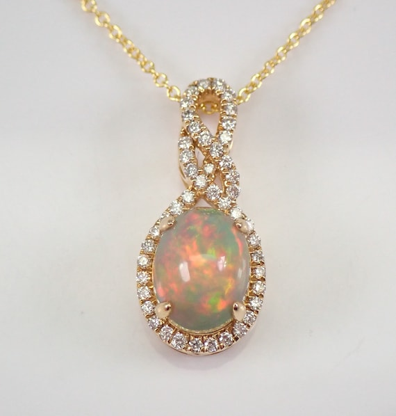 """14K Yellow Gold Diamond and Opal Halo Pendant Necklace 20"""" Chain October Birthstone"""